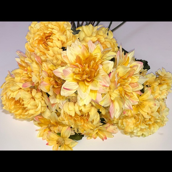 Yellow long stem silk flowers